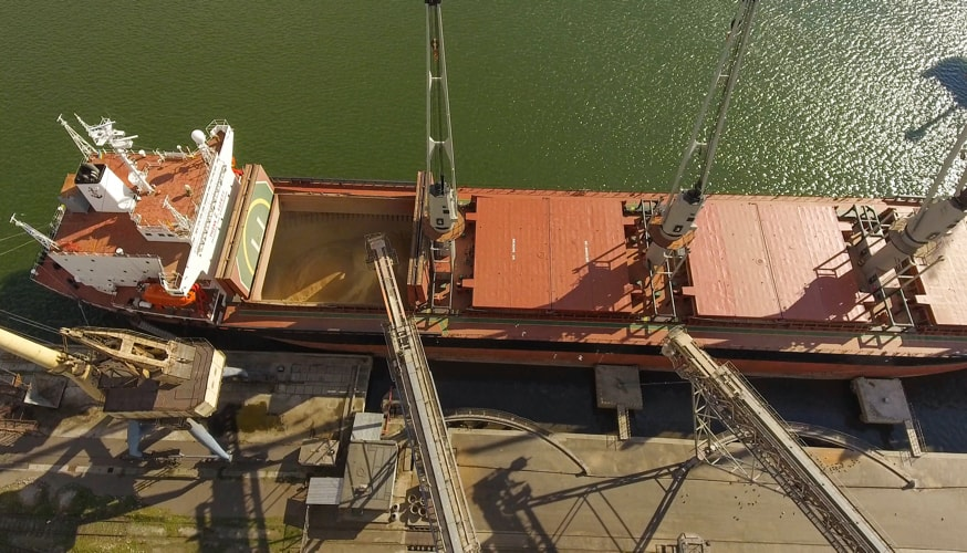 Loading of grain on a ship